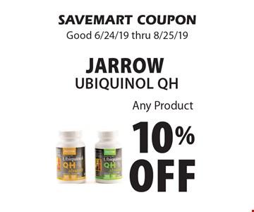 10% Off Jarrow Ubiquinol QH Any Product. SAVEMART COUPON Good 6/24/19 thru 8/25/19