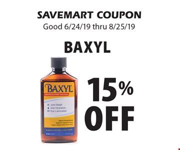 15% Off Baxyl. SAVEMART COUPON Good 6/24/19 thru 8/25/19