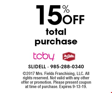 15% off total purchase. 2017 Mrs. Fields Franchising, LLC. All rights reserved. Not valid with any other offer or promotion. Please present coupon at time of purchase. Expires 9-13-19.