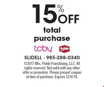 15% Off total purchase. ©2017 Mrs. Fields Franchising, LLC. All rights reserved. Not valid with any other offer or promotion. Please present coupon 