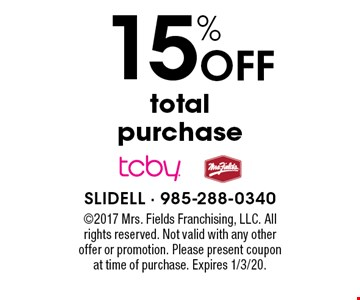 15% Off total purchase. 2017 Mrs. Fields Franchising, LLC. All rights reserved. Not valid with any other offer or promotion. Please present coupon at time of purchase. Expires 1/3/20.