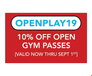10% Off Open Gym Passes. Valid now thru 9/1/19. *These discounts are only available online at www thewarriorfactoryroc.com