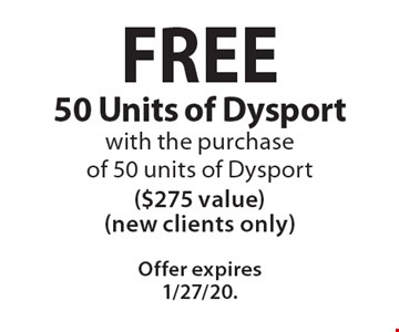 FREE 50 Units of Dysport with the purchase of 50 units of Dysport ($275 value) (new clients only). Offer expires 1/27/20.