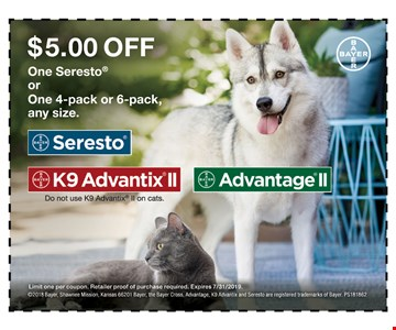 $5 off one Sereto or one 4-pack or 6-pack any size. Limit one per coupon. Retailer proof of purchase required. Expires 7-31-19.
