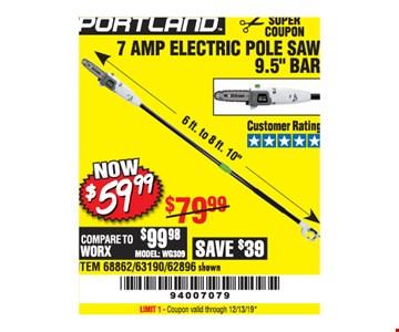 Portland 7 amp electric pole saw 9.5