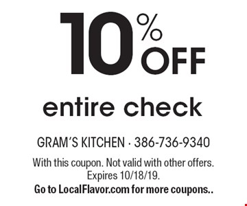 10% off entire check. With this coupon. Not valid with other offers. Expires 10/18/19. Go to LocalFlavor.com for more coupons..