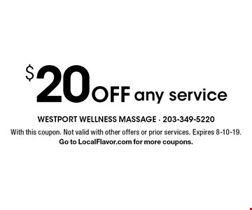 $20 Off any service. With this coupon. Not valid with other offers or prior services. Expires 8-10-19. Go to LocalFlavor.com for more coupons.