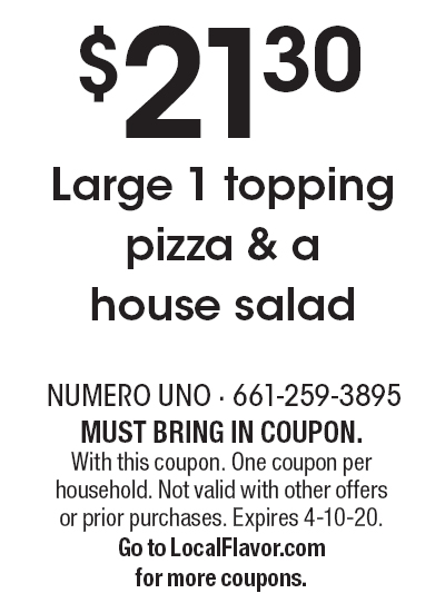 photo about Uno Coupons Printable identified as Numero Uno Pizza - $15 For $30 Value Of -