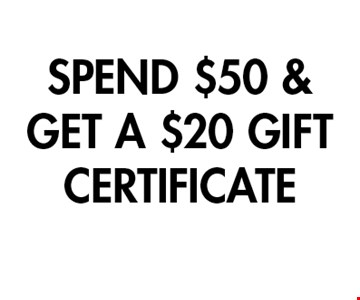 SPEND $50 & GET A $20 GIFT CERTIFICATE. 1 per table.Cannot be combined with other offers.Valid with original coupon only. Copies not valid. Not valid on holidays.Expires 11/8/19. Go to LocalFlavor.com for more coupons.