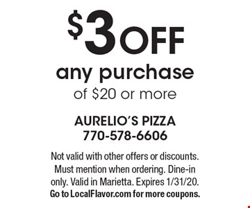 $18.99 1 Large Thin Crust 1 Item Pizza. Not valid with other offers or discounts. Must mention when ordering. Dine-in only. Valid in Marietta. Expires 1/31/20. Go to LocalFlavor.com for more coupons.