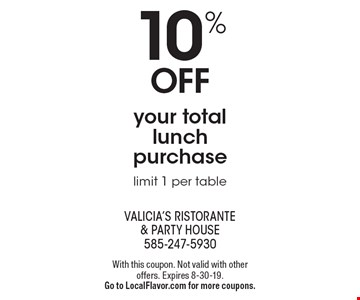 10% OFF your total lunch purchase, limit 1 per table. With this coupon. Not valid with other offers. Expires 8-30-19. Go to LocalFlavor.com for more coupons.