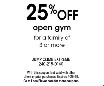 25% OFF open gymfor a family of 3 or more. With this coupon. Not valid with other offers or prior purchases. Expires 7-26-19.Go to LocalFlavor.com for more coupons.