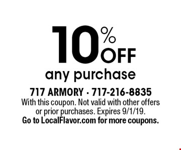 10% OFF any purchase. With this coupon. Not valid with other offers or prior purchases. Expires 9/1/19. Go to LocalFlavor.com for more coupons.