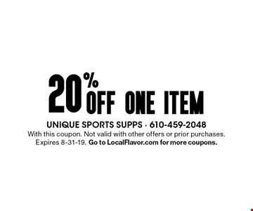 20% off one item. With this coupon. Not valid with other offers or prior purchases. Expires 8-31-19. Go to LocalFlavor.com for more coupons.