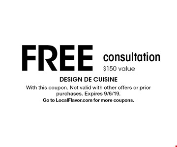 FREE consultation. $150 value. With this coupon. Not valid with other offers or prior purchases. Expires 9/6/19. Go to LocalFlavor.com for more coupons.