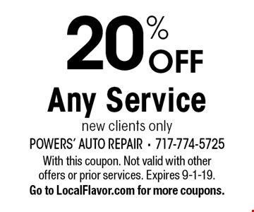 20% OFF Any Service new clients only. With this coupon. Not valid with other offers or prior services. Expires 9-1-19.Go to LocalFlavor.com for more coupons.