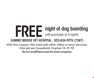 Free night of dog boarding with purchase of 3 nights. With this coupon. Not valid with other offers or prior services. One pet per household. Expires 12-31-19. Go to LocalFlavor.com for more coupons.