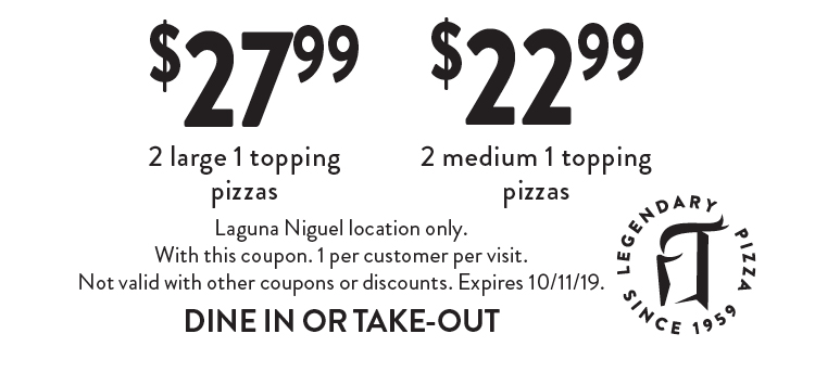 picture about Round Table Pizza Printable Coupons referred to as - Spherical Desk Pizza - Laguna Niguel Discount codes