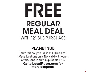 Free regular meal deal with 12