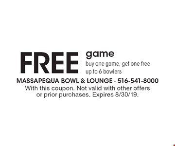 Free game. Buy one game, get one free up to 6 bowlers. With this coupon. Not valid with other offers or prior purchases. Expires 8/30/19.