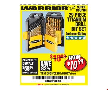 Warrior 29 piece titanium drill bit set $10.99. LIMIT 3 - Coupon valid through01/30/20.
