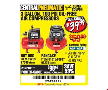 Central pneumatics 3 gallon, 100 psi oil-free air compressors $39.99. LIMIT 3 - Coupon valid through01/30/20.