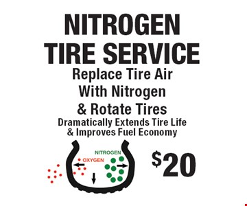 $20 Nitrogen Tire Service. Nitrogen tire service. Replace tire air with nitrogen & rotate tires. All offers valid on most cars and light trucks. Valid at participating locations. Not valid with any other offers or warranty work. Must present coupon at time of estimate. One offer per service, per vehicle. No cash value.
