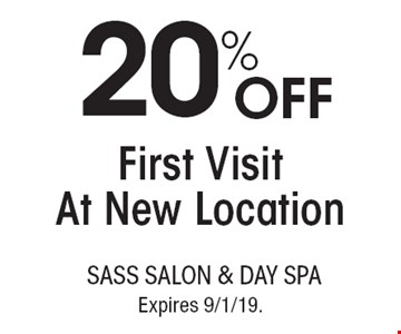 20% OFF First Visit At New Location. With this coupon. Not valid with other offers or prior services. Go to LocalFlavor.com for more coupons. Expires 9/1/19.