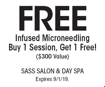 FREE Infused Microneedling Buy 1 Session, Get 1 Free! ($300 Value). With this coupon. Not valid with other offers or prior services. Go to LocalFlavor.com for more coupons. Expires 9/1/19.
