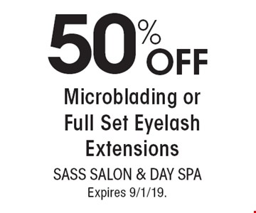 50% OFF Microblading or Full Set Eyelash Extensions. With this coupon. Not valid with other offers or prior services. Go to LocalFlavor.com for more coupons. Expires 9/1/19.