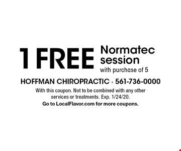 1 free Normatec session with purchase of 5. With this coupon. Not to be combined with any other services or treatments. Exp. 1/24/20. Go to LocalFlavor.com for more coupons.