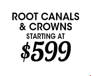 root canals & crowns starting at $599
