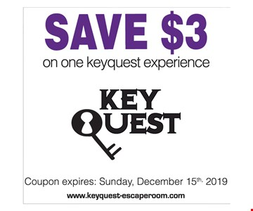 SAVE $3 on one keyquest experience. Coupon expires: Sunday, 12/15/2019. Coupon valid only at Laser Quest Canton and Laser Quest Akron. Coupon has no cash value and are non-transferrable. One coupon per person. Not valid with any other promotional offers.