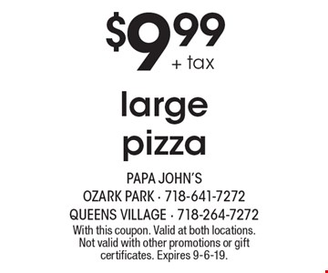 $9.99 + tax large pizza. With this coupon. Valid at both locations. Not valid with other promotions or gift certificates. Expires 9-6-19.