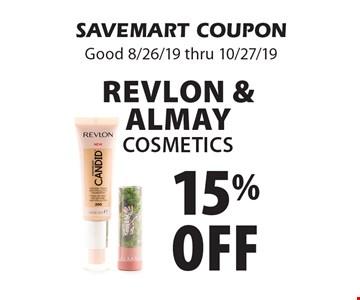 15% off Revlon & Almay Cosmetics. SAVEMART COUPON. Good 8/26/19 thru 10/27/19