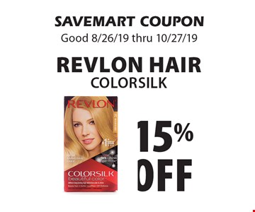 15% off Revlon Hair COLORSILK. SAVEMART COUPON. Good 8/26/19 thru 10/27/19
