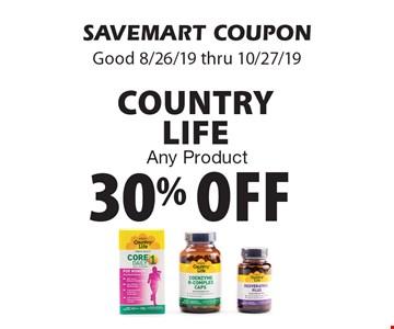 30% off Country Life. Any Product. SAVEMART COUPON. Good 8/26/19 thru 10/27/19.