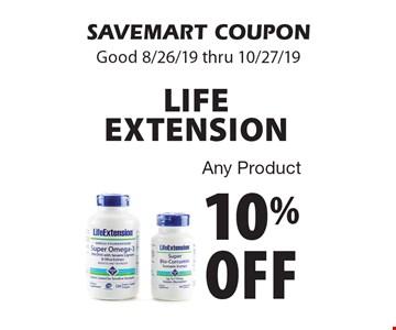 10% off LIFE EXTENSION. Any Product. SAVEMART COUPON. Good 8/26/19 thru 10/27/19.