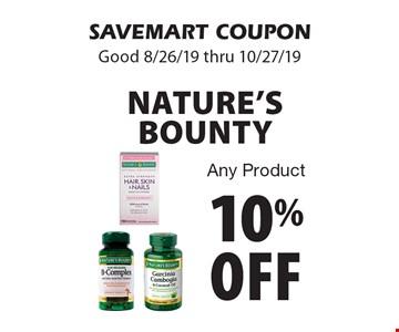 10% off Nature's Bounty Any Product. SAVEMART COUPON. Good 8/26/19 thru 10/27/19