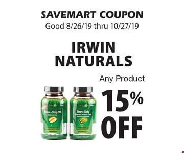 15% off Irwin Naturals Any Product. SAVEMART COUPON. Good 8/26/19 thru 10/27/19