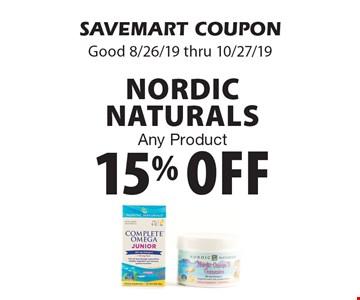15% off Nordic Naturals. Any Product. SAVEMART COUPON. Good 8/26/19 thru 10/27/19