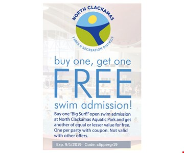 Coupon Offer Buy One, Get One FREE swim admission! Buy one