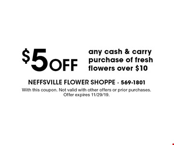 $5 off any cash & carry purchase of fresh flowers over $10. With this coupon. Not valid with other offers or prior purchases. Offer expires 11/29/19.