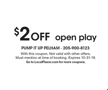 $2off open play. With this coupon. Not valid with other offers. Must mention at time of booking. Expires 10-31-19.Go to LocalFlavor.com for more coupons.