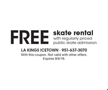 Free skate rental with regularly priced public skate admission. With this coupon. Not valid with other offers. Expires 9/6/19.