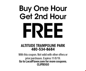 Buy One Hour Get 2nd Hour FREE. With this coupon. Not valid with other offers or prior purchases. Expires 11/8/19. Go to LocalFlavor.com for more coupons. CLIPBOGO