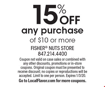 15% OFF any purchase of $10 or more. Coupon not valid on case sales or combined with any other discounts, promotions or in-store coupons. Original coupon must be presented to receive discount; no copies or reproductions will be accepted. Limit to one per person. Expires 1/3/20. Go to LocalFlavor.com for more coupons.