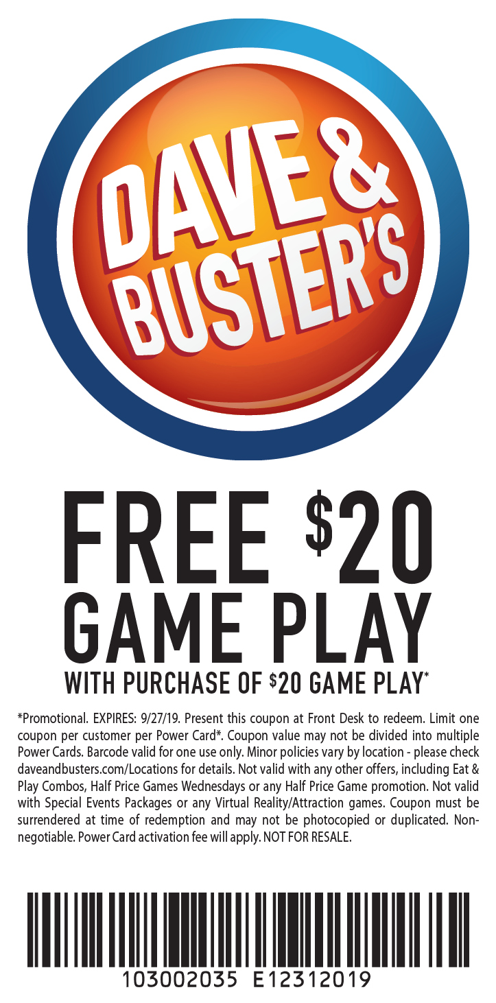 image regarding Dave and Busters Printable Coupons identified as - Dave and Busters Discount codes