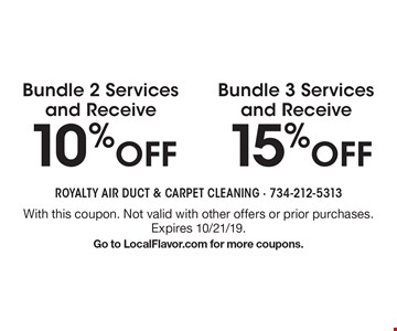 15% off Bundle 3 Services and Receive. 10% off Bundle 2 Services and Receive. With this coupon. Not valid with other offers or prior purchases. Expires 10/21/19.Go to LocalFlavor.com for more coupons.