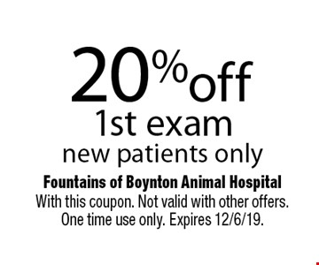 20% off 1st exam new patients only. With this coupon. Not valid with other offers. One time use only. Expires 12/6/19.